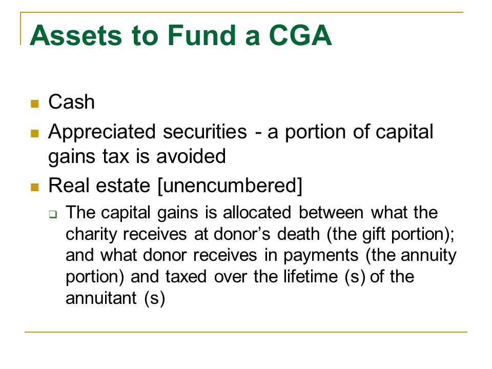 Assets to Fund a CGA Cash