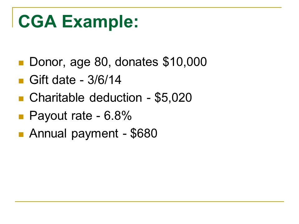 CGA Example: Donor, age 80, donates $10,000 Gift date - 3/6/14