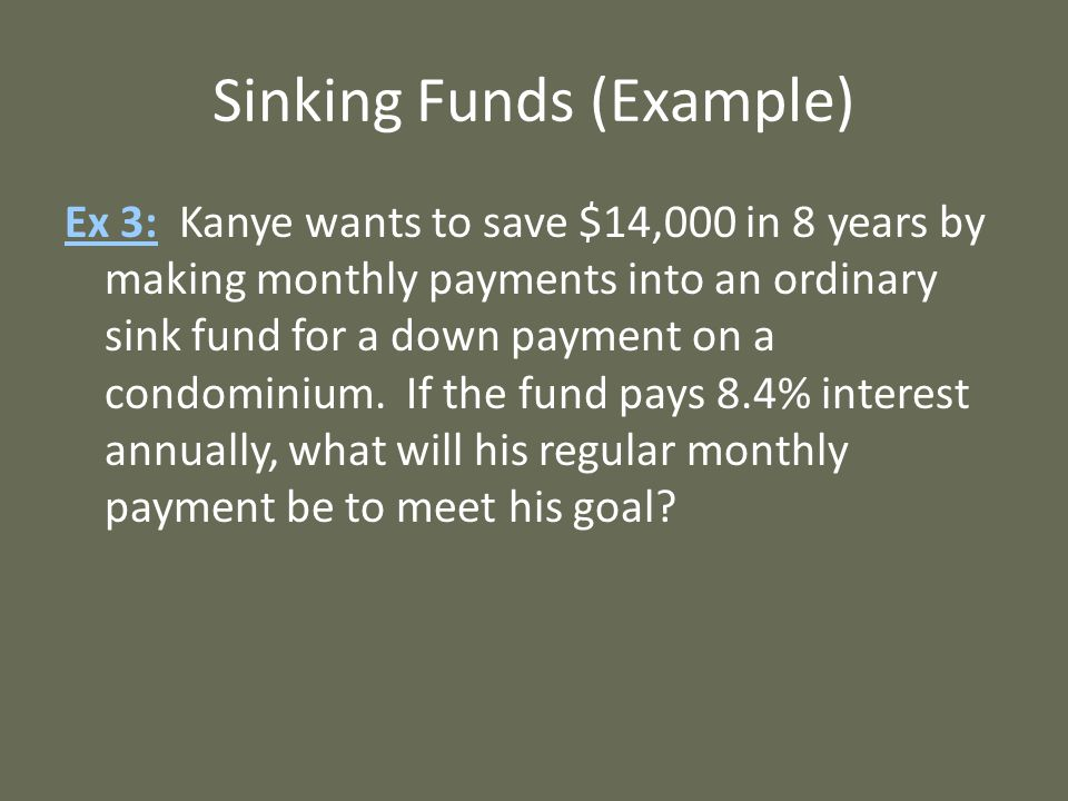 Sinking Funds (Example)