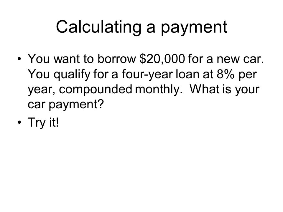 Calculating a payment