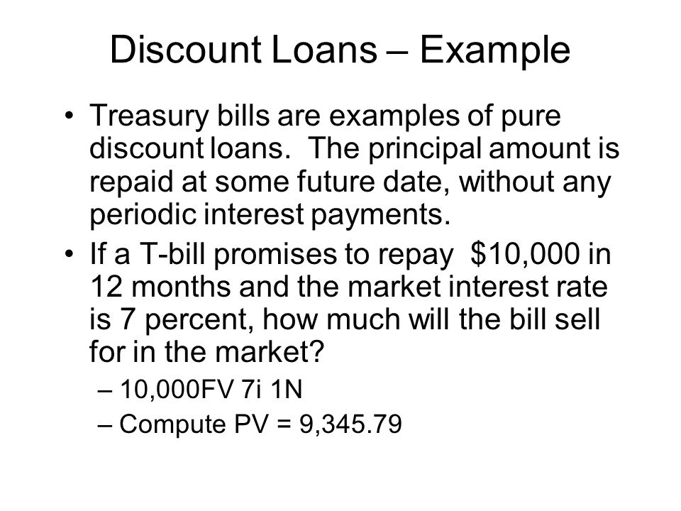 Discount Loans – Example