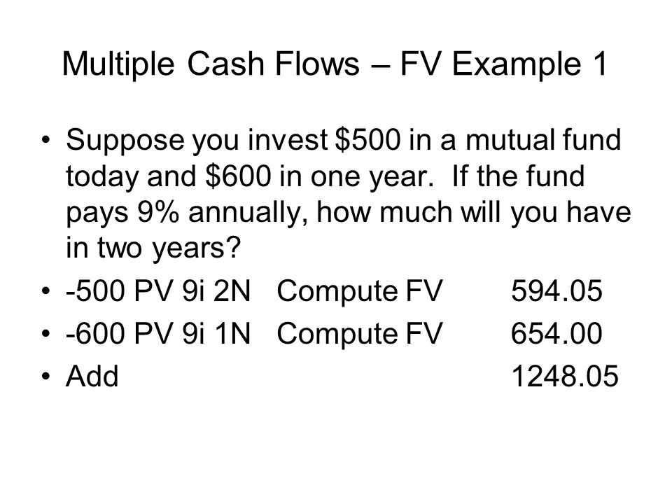 Multiple Cash Flows – FV Example 1