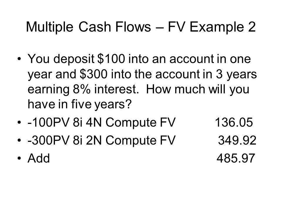 Multiple Cash Flows – FV Example 2
