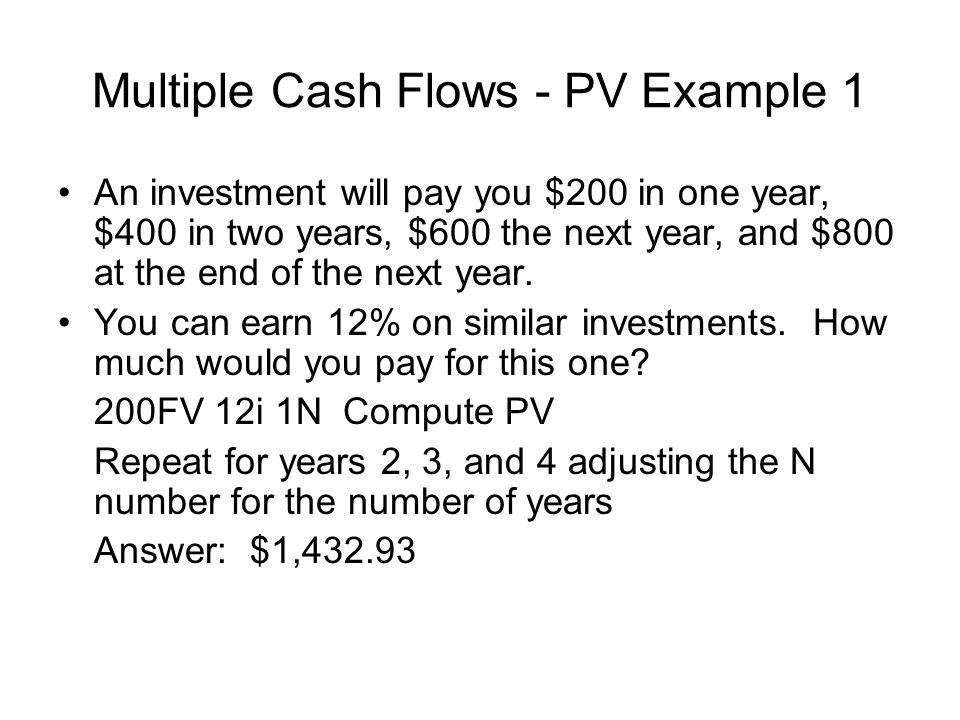 Multiple Cash Flows - PV Example 1