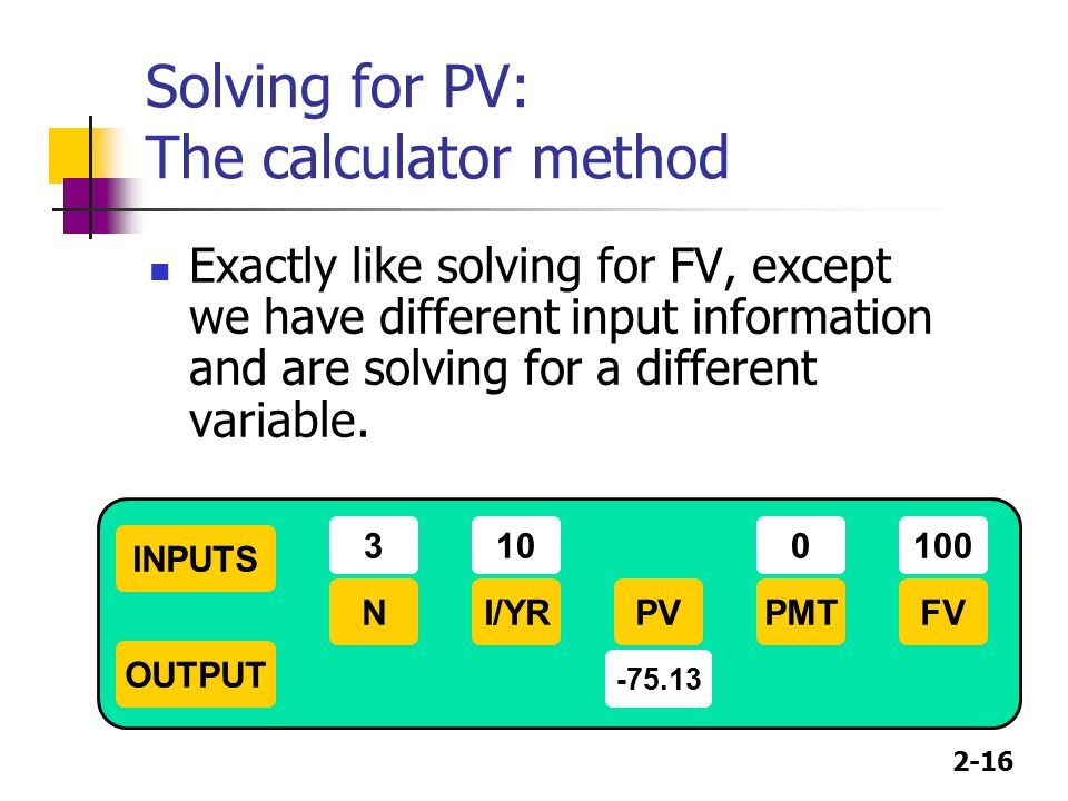 Solving for PV: The calculator method