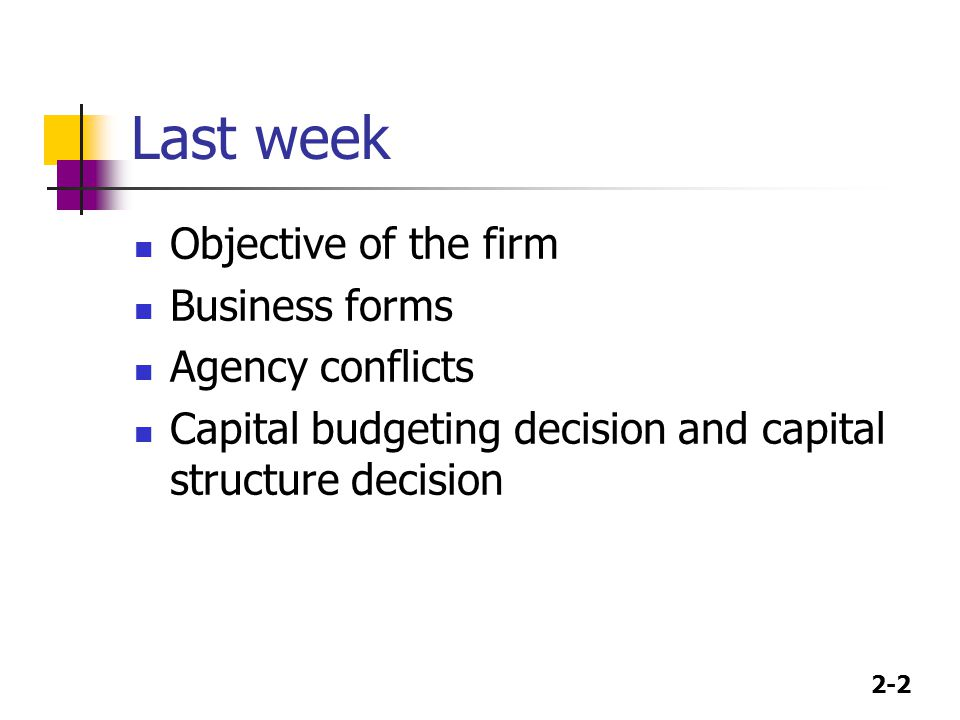 Last week Objective of the firm Business forms Agency conflicts