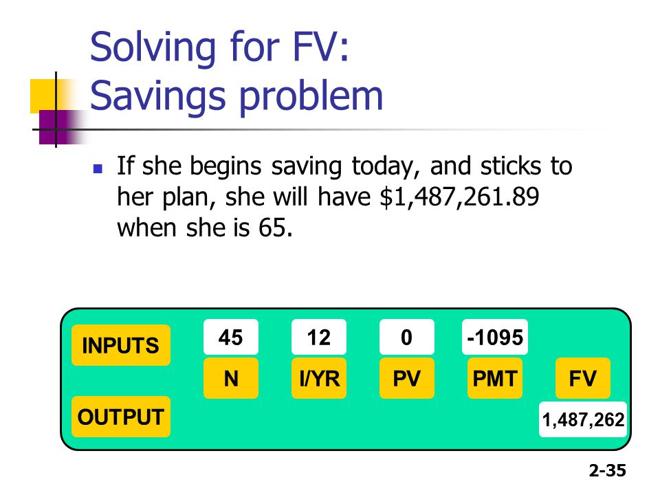 Solving for FV: Savings problem
