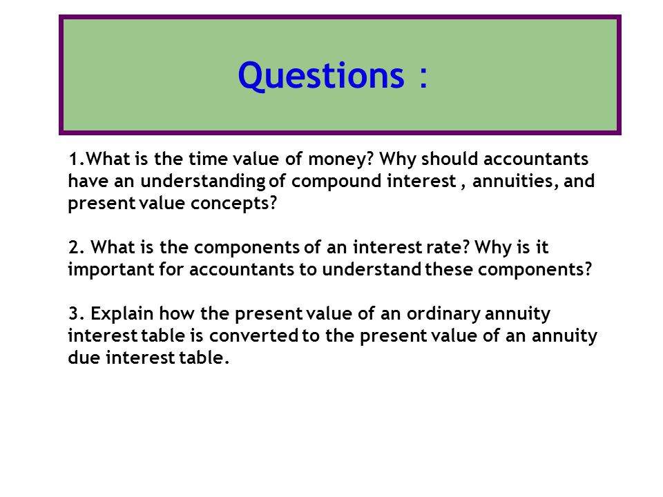 explain the concept of the time value of money The time value of money is one of the basic theories of financial management the theory of states that the value of money you have now is greater than a reliable promise to receive the same amount of money at a future date this may sound simple, but it underpins the concept of interest, and can be.
