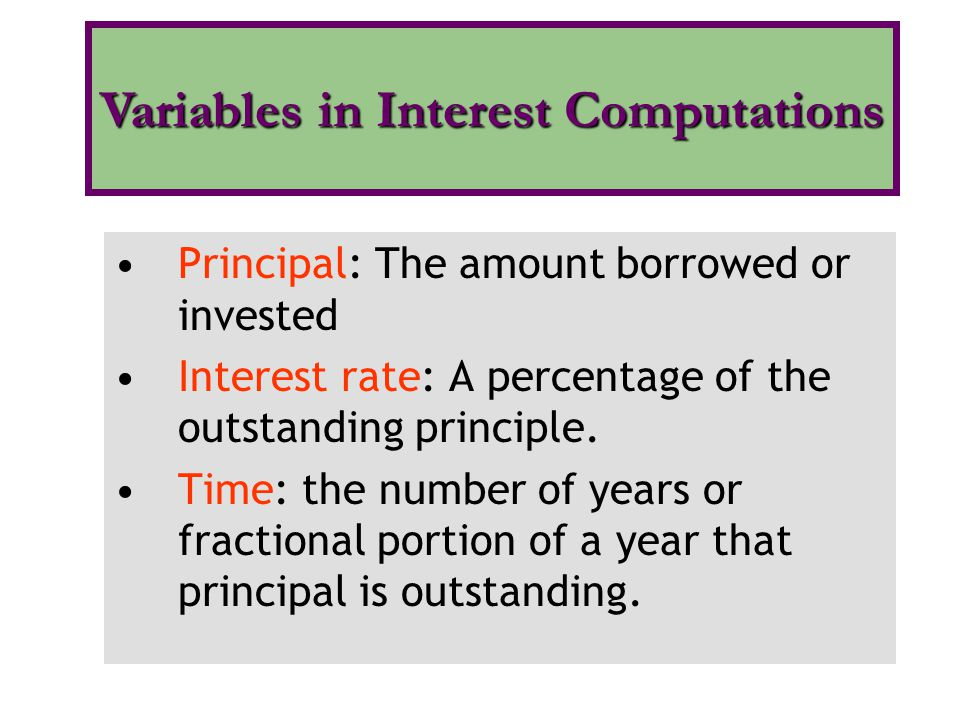 Variables in Interest Computations