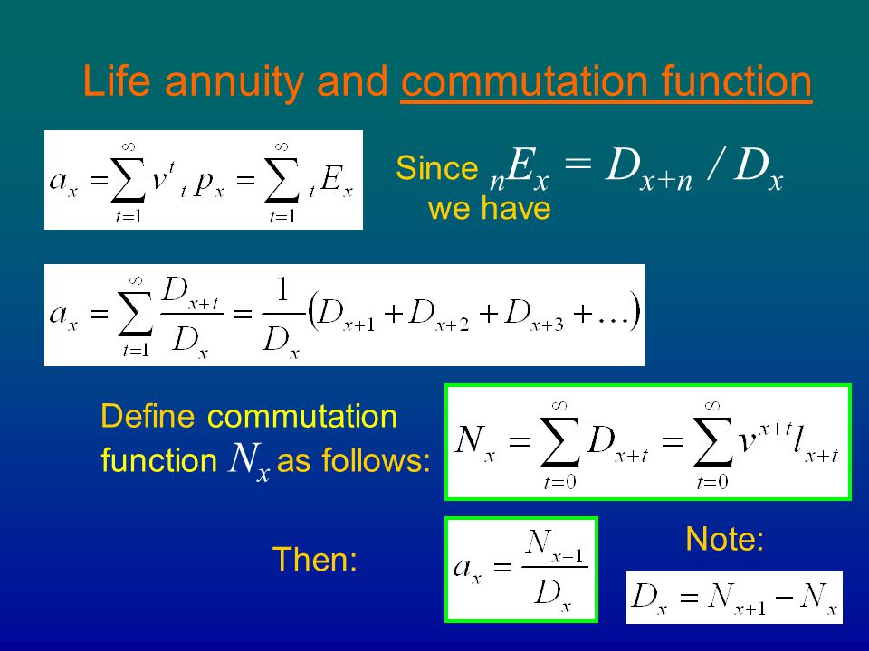 Life annuity and commutation function