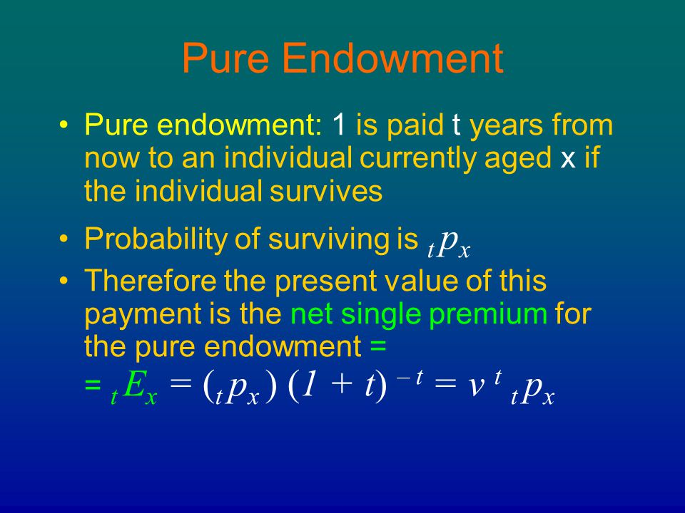 Pure Endowment Pure endowment: 1 is paid t years from now to an individual currently aged x if the individual survives.