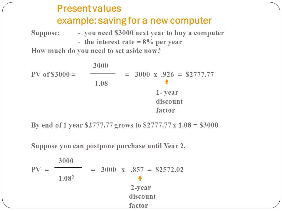 Present values example: saving for a new computer