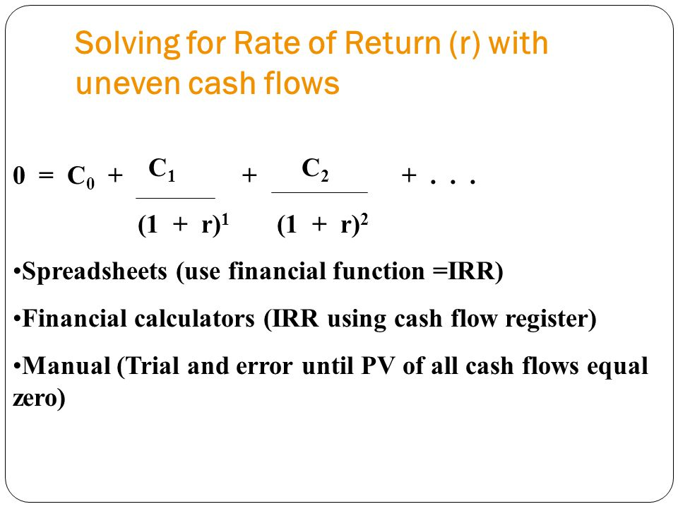 Solving for Rate of Return (r) with uneven cash flows