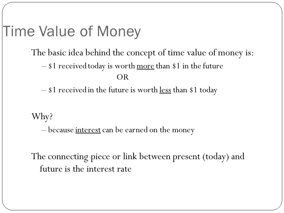 Time Value of Money The basic idea behind the concept of time value of money is: