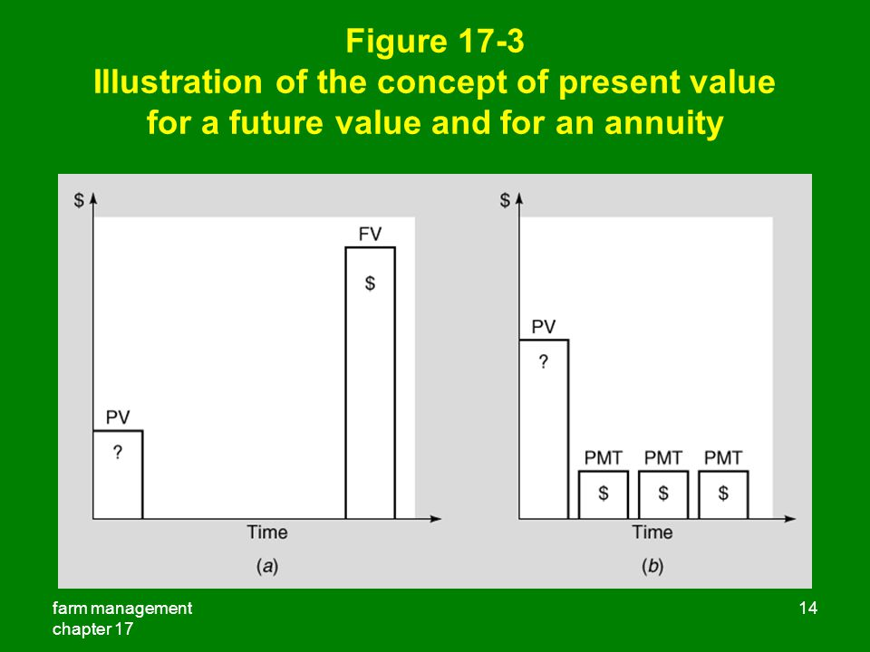 Figure 17-3 Illustration of the concept of present value for a future value and for an annuity