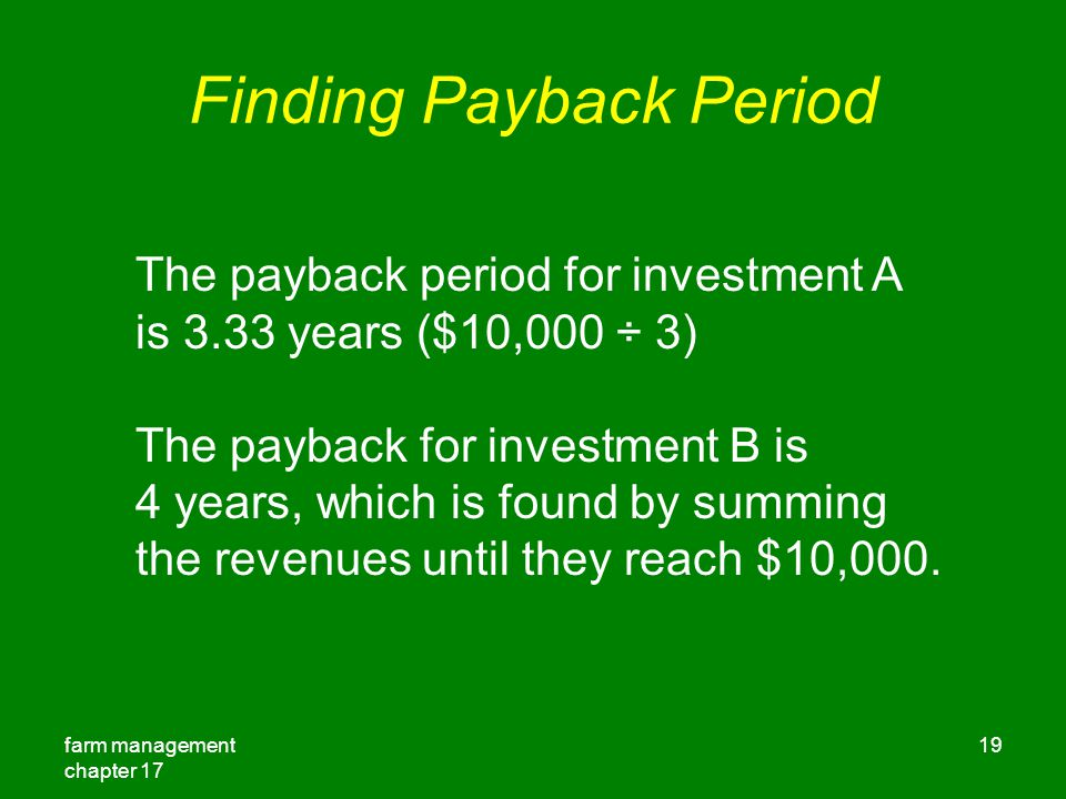 Finding Payback Period
