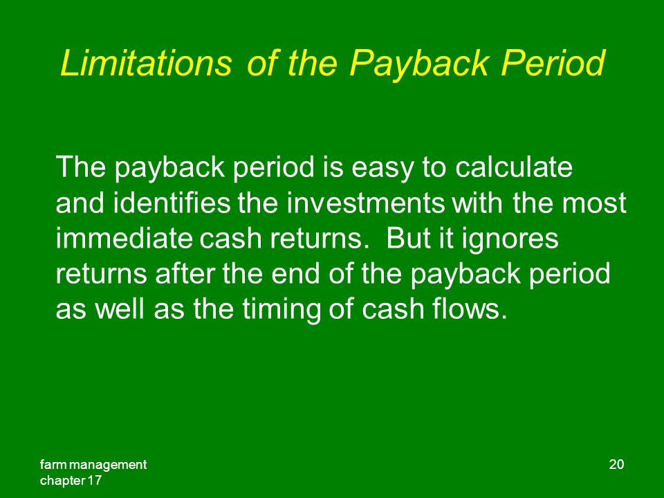 Limitations of the Payback Period