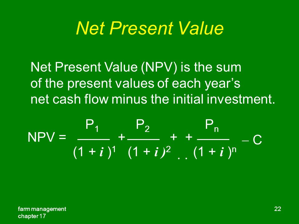 Net Present Value Net Present Value (NPV) is the sum