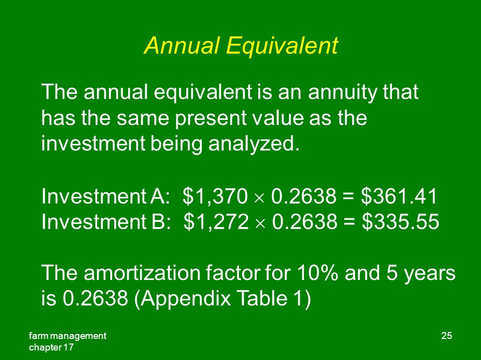 Annual Equivalent The annual equivalent is an annuity that