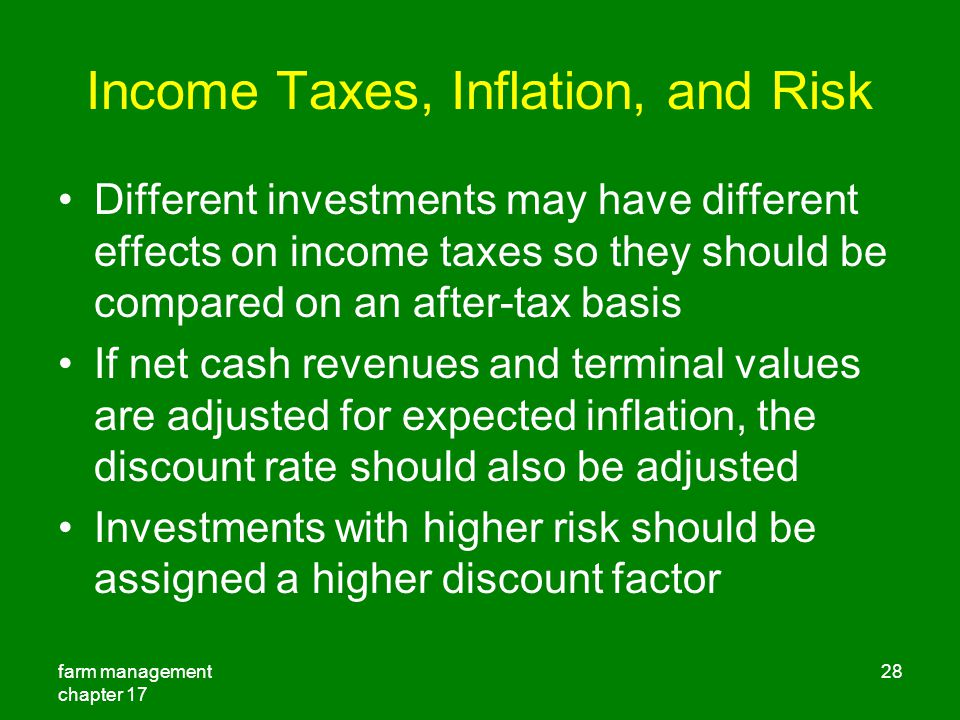 Income Taxes, Inflation, and Risk