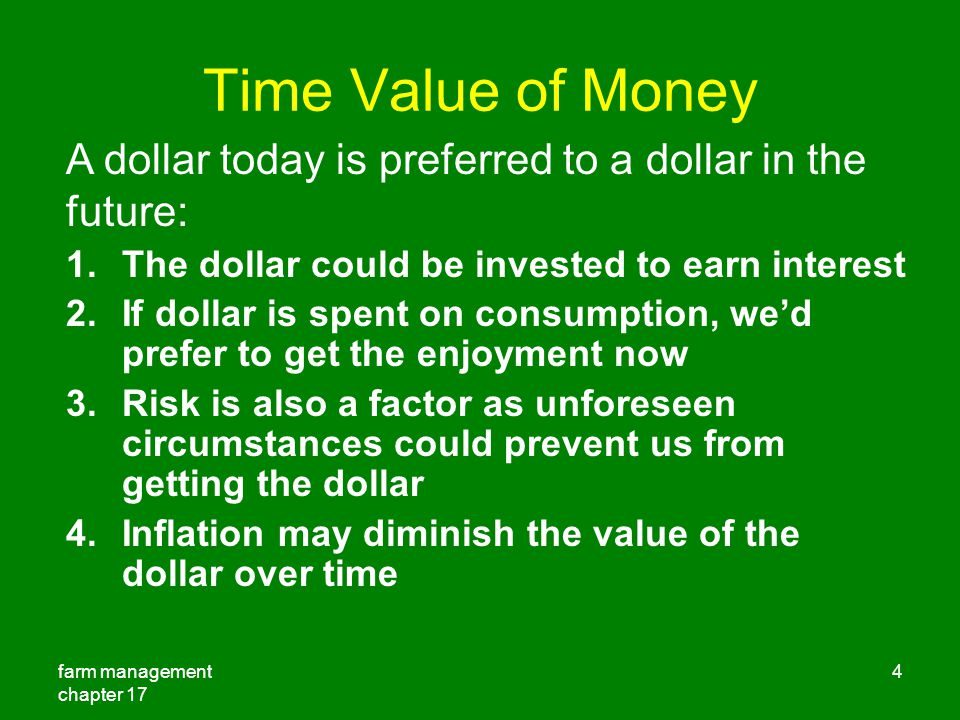 Time Value of Money A dollar today is preferred to a dollar in the