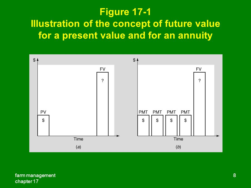 Figure 17-1 Illustration of the concept of future value for a present value and for an annuity
