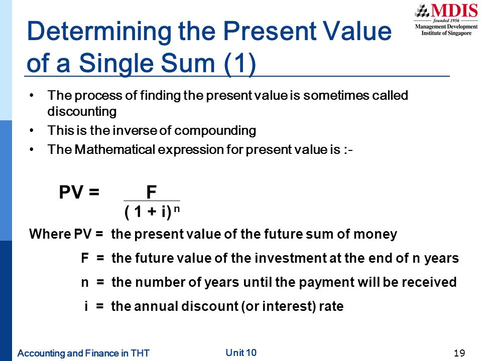 Determining the Present Value of a Single Sum (1)