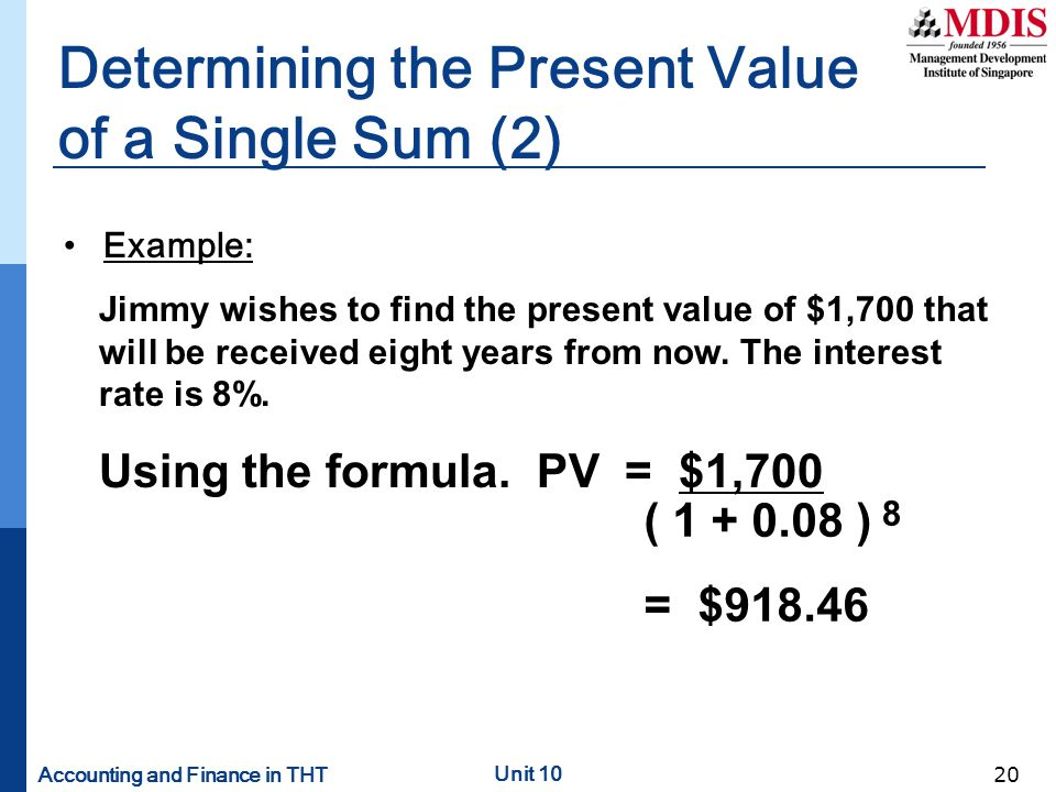 Determining the Present Value of a Single Sum (2)