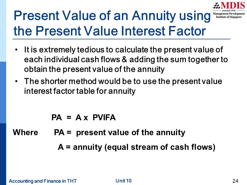 Present Value of an Annuity using the Present Value Interest Factor