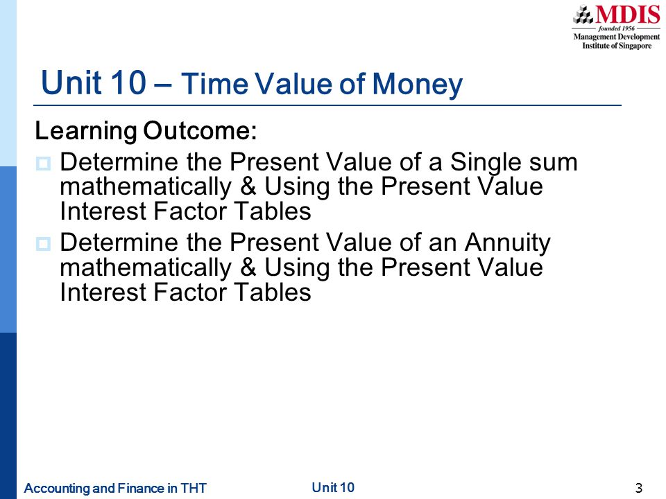 Unit 10 – Time Value of Money