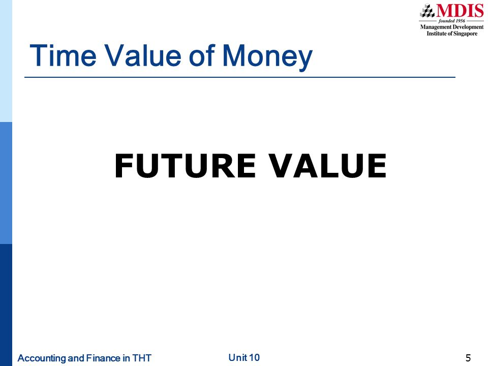 Time Value of Money FUTURE VALUE