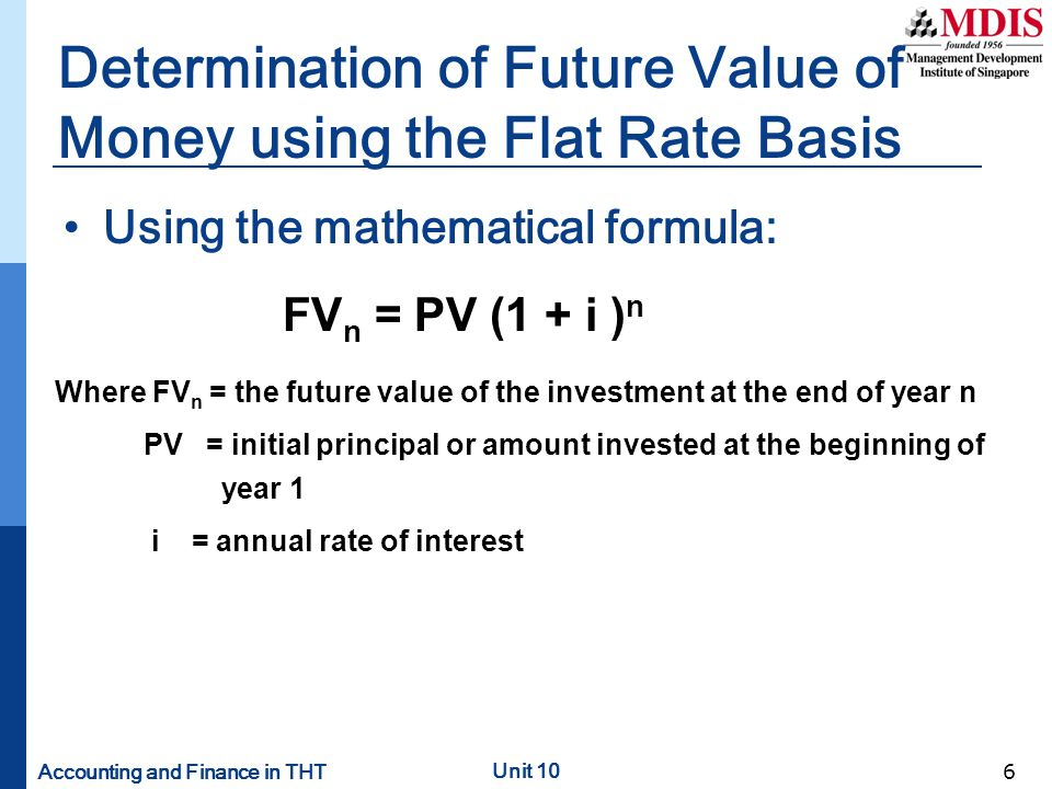 Determination of Future Value of Money using the Flat Rate Basis