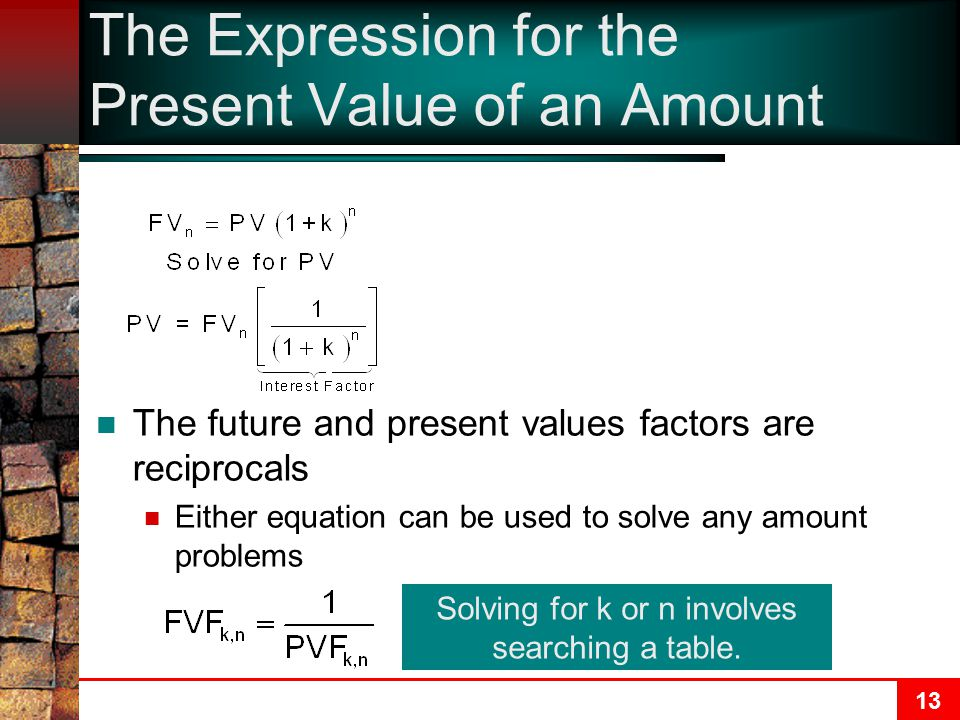 The Expression for the Present Value of an Amount