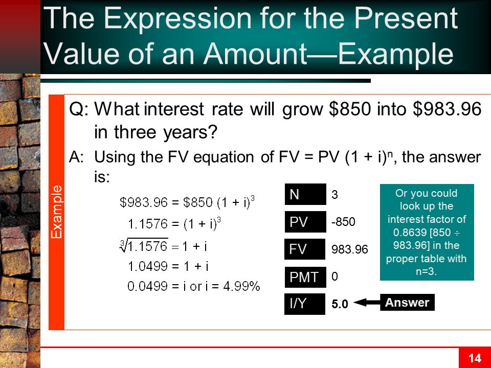 The Expression for the Present Value of an Amount—Example
