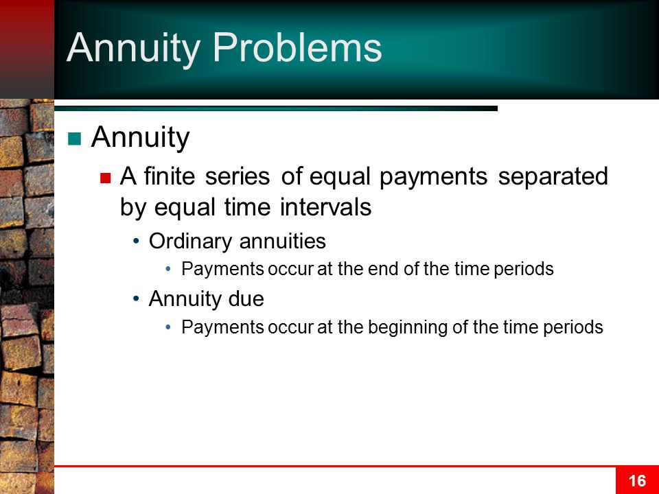 Annuity Problems Annuity