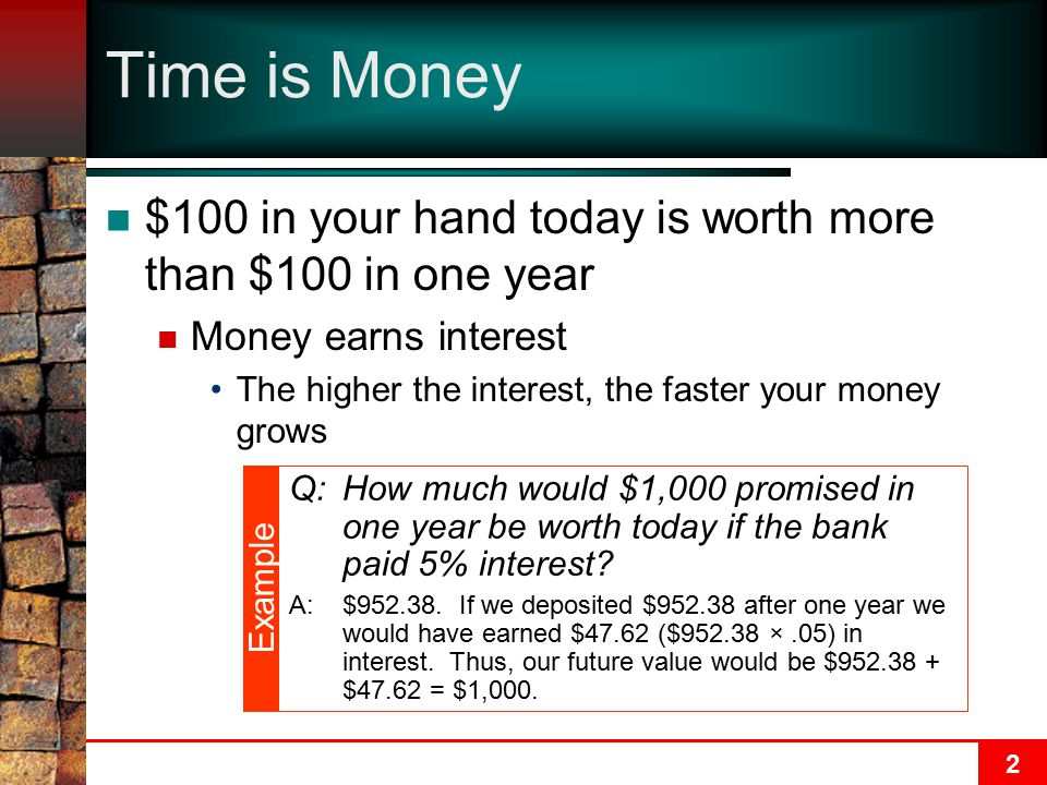 Time is Money $100 in your hand today is worth more than $100 in one year. Money earns interest.