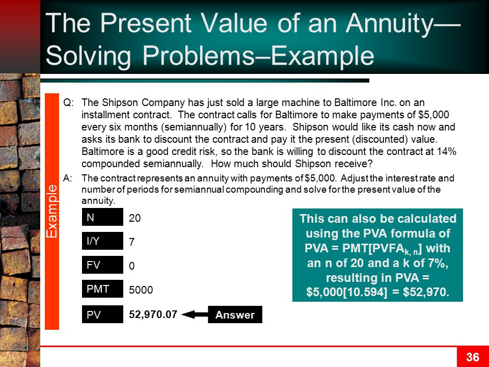 The Present Value of an Annuity—Solving Problems–Example