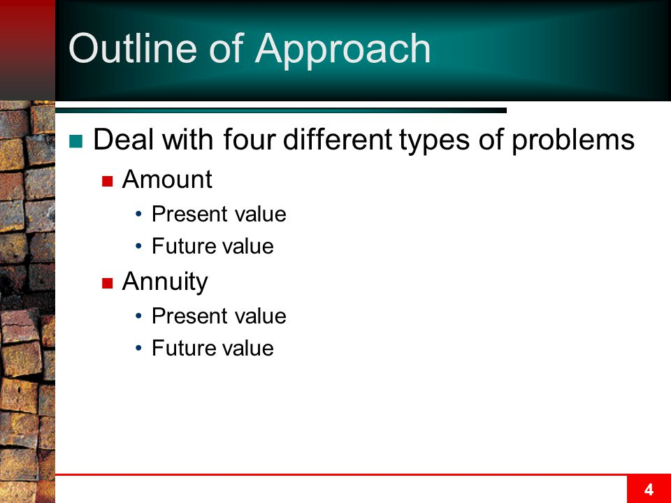 Outline of Approach Deal with four different types of problems Amount