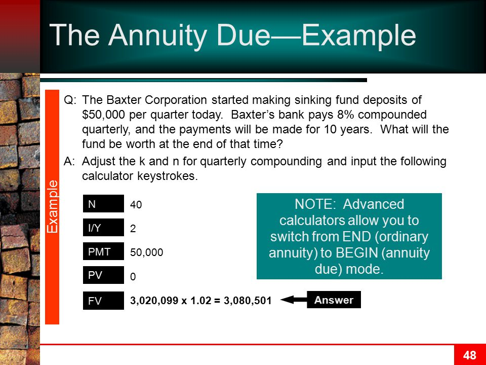 The Annuity Due—Example