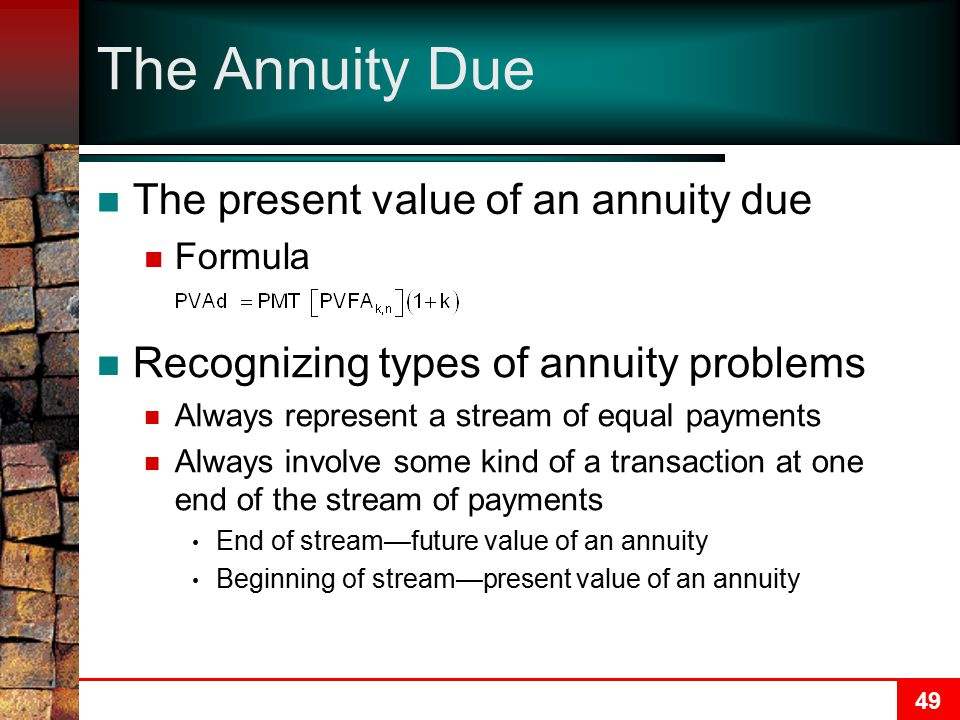 The Annuity Due The present value of an annuity due