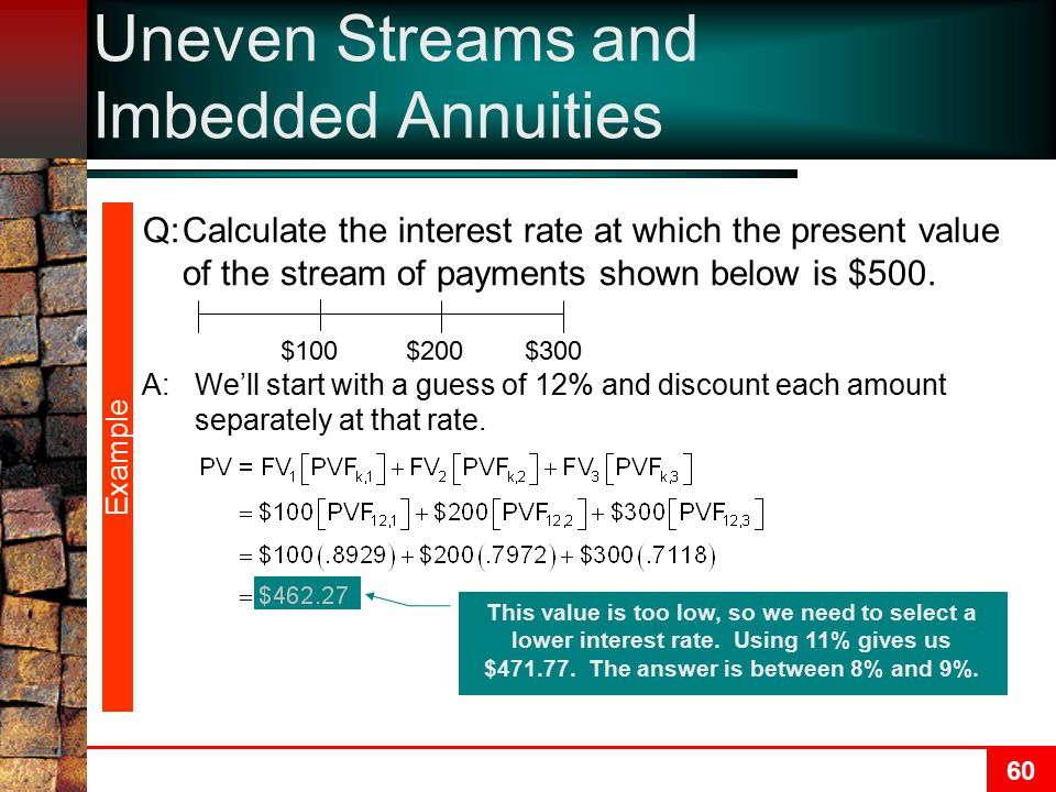 Uneven Streams and Imbedded Annuities