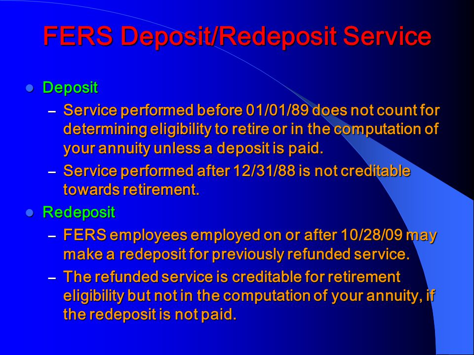 FERS Deposit/Redeposit Service
