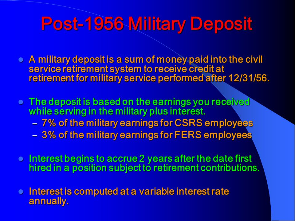 Post-1956 Military Deposit
