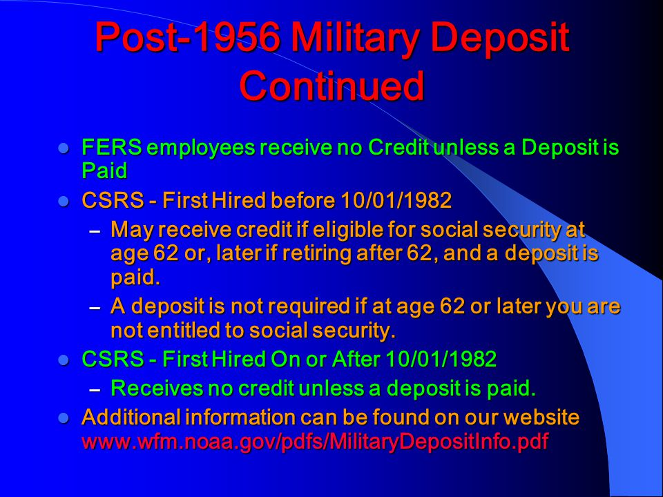 Post-1956 Military Deposit Continued