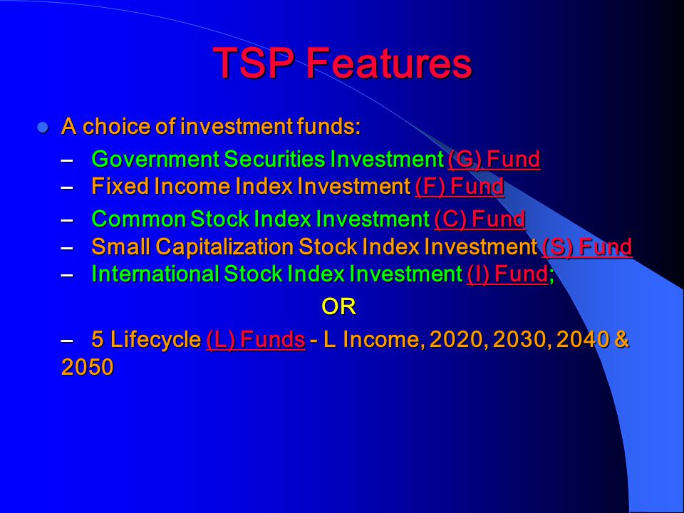 TSP Features A choice of investment funds:
