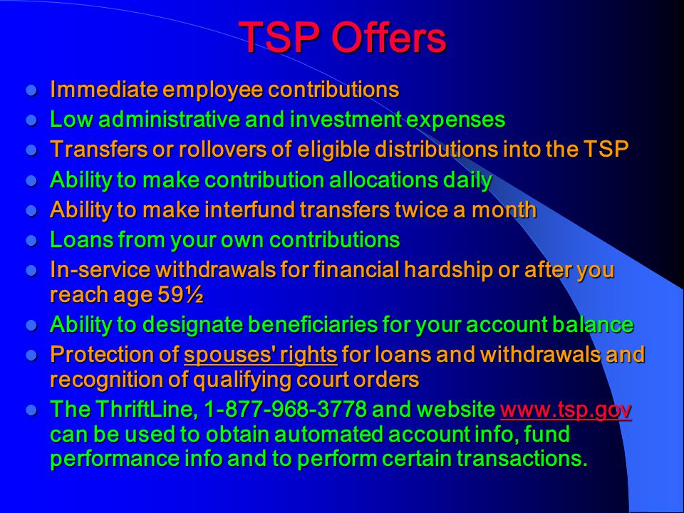 TSP Offers Immediate employee contributions