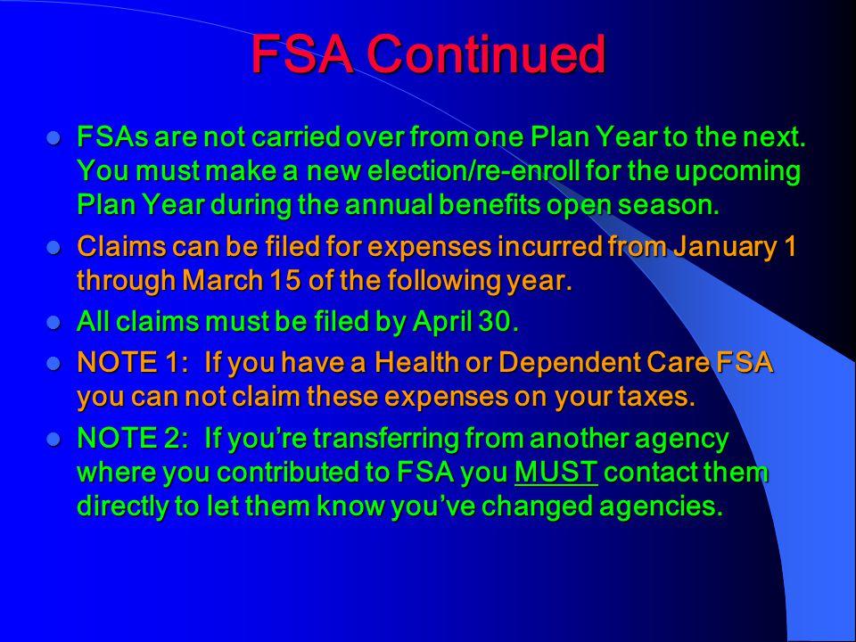 FSA Continued