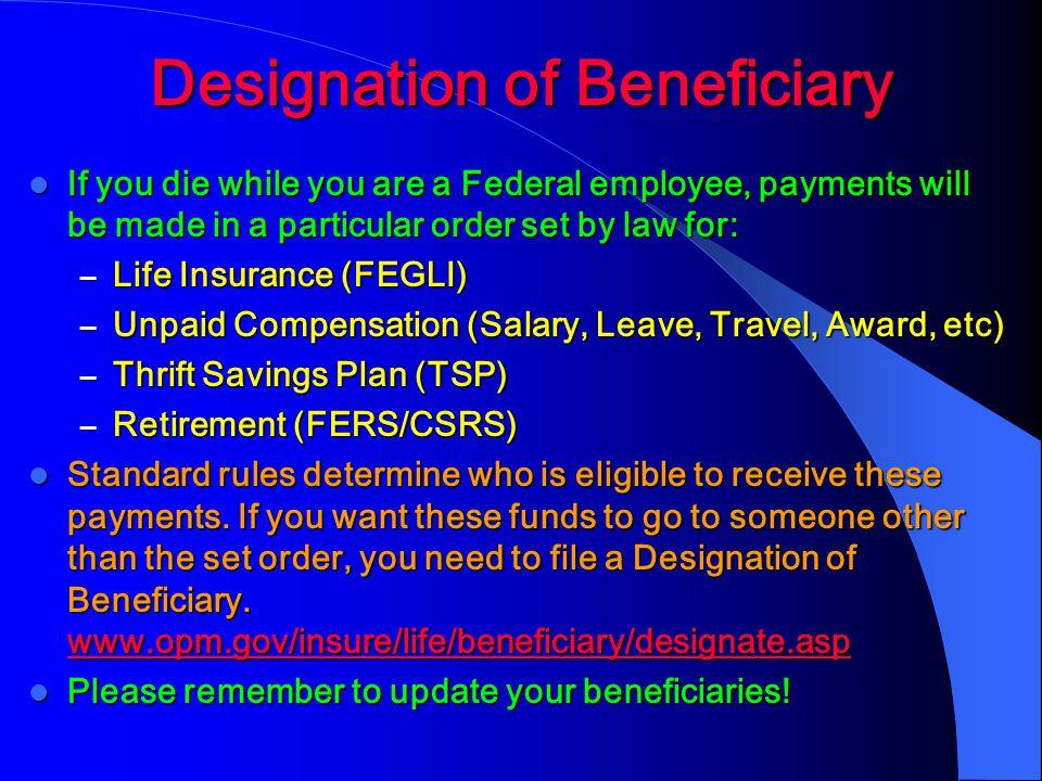 Designation of Beneficiary