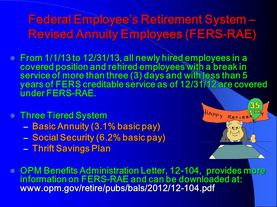 Federal Employee's Retirement System – Revised Annuity Employees (FERS-RAE)
