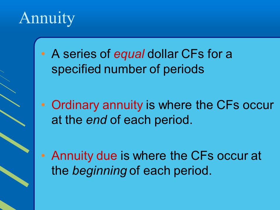 Annuity A series of equal dollar CFs for a specified number of periods
